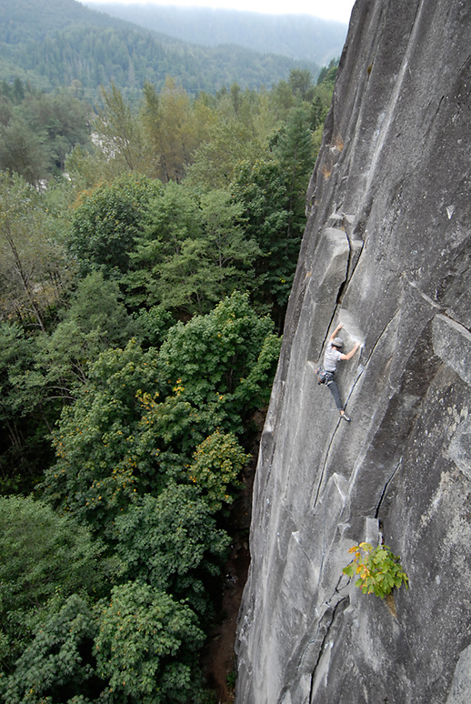 Mikey Schaefer making like a cameleon on the Lower Wall warmup Godzilla, 5.9+, Index, WA.