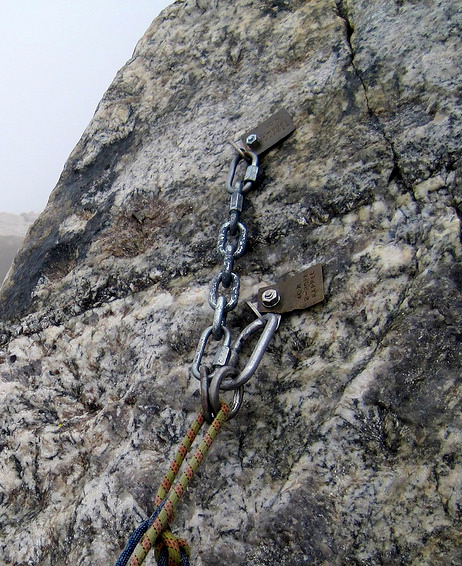 Rappel station on Grand Teton installed by NPS. Steph Abegg photo.