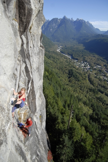 Sonya Kepler navigating the knob studded crux of Tempitchuous, 12a. Index, wa.